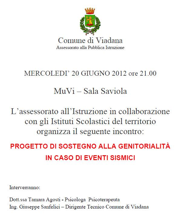 Sostegno Genitori in caso di Terremoto o Sisma - Viadana (Mantova)